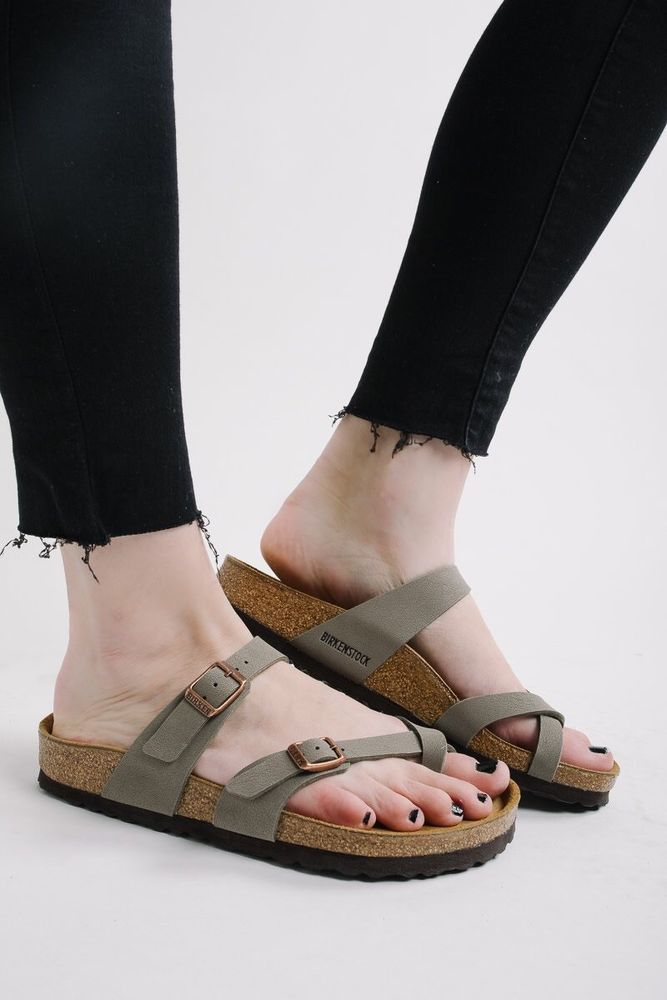 Birkenstock Birkenstock Arizona Taupe Suede Narrow Fit Flat Sandals Stone from ASOS USA | ShapeShop