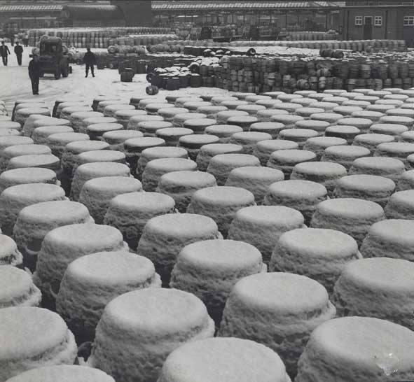 Snow covered Guinness keg old Dublin town 1960