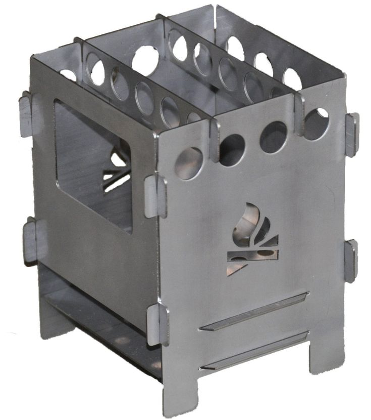 Réchaud bois Bushbox Outdoor Stove entièrement en acier inoxydable. Modèle démontable, léger et compact.