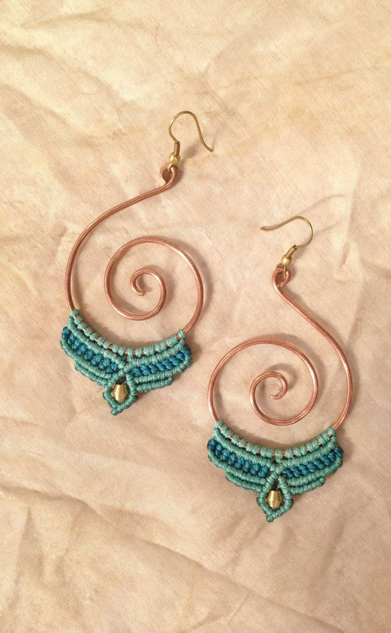 Tribal gypsy macrame earrings with copper spiral turquoise pixie brass beads