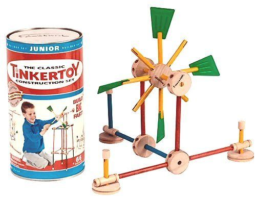 How to Build Tinker Toys  For almost 100 years, Tinkertoys have fueled the imagination of children to build, design and create with simple pieces of wood. Playing with this classic toy building set has provided fun for several generations of budding engineers and designers by using basic wooden sticks, rods and spools to create in three dimensions.  Tinker toys prove building with simple wooden shapes can challenge the imagination and give hours of fun and entertainment.