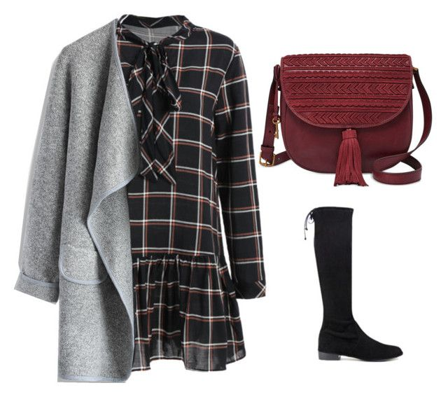 checked dress by justyna-kowalcze on Polyvore featuring moda, Chicwish, Stuart Weitzman and FOSSIL