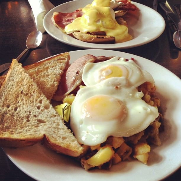 MIGHTY MOOSE – MOOSE COFFEE  Breakfast is the most important meal of the day and it is very important you try this. Back bacon, over easy eggs and a mustard and garlic potato hash that'll taste so good you'll forget to take a picture.
