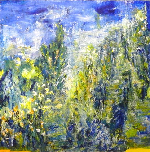 Montemar by night | acryl op papier op mdf | ca 56 x 55 cm | © irka Stachiw #art #acrylic #painting #schilderij #acrylverf #impressionisme #landscape #soul