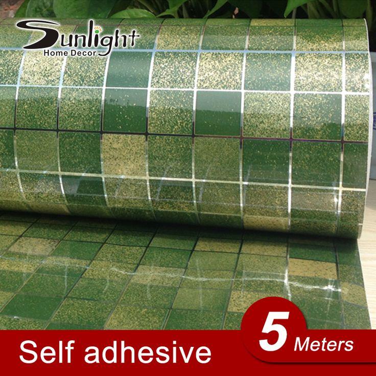 5 metros/lote adesivos de parede cozinha vinil à prova d ' água auto adesiva banheiro decalques Home Decor da telha de mosaico PVC papel de parede rolo alishoppbrasil