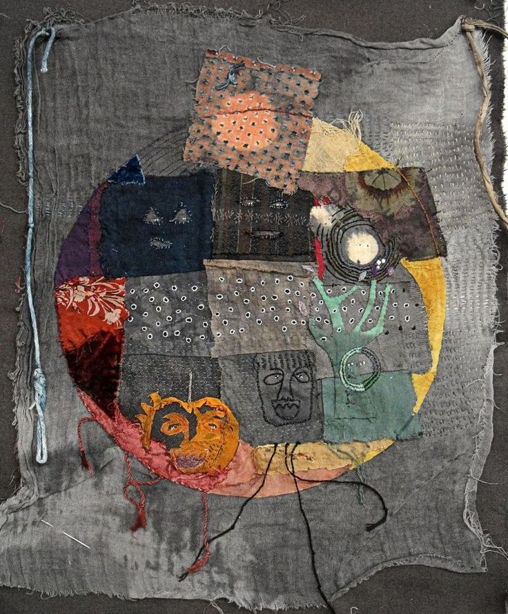 """'faces in the dark' - Jude Hill Spirit Cloth Jude Hill writes, """"stitching a story because it seems I might be able to communicate something through cloth making. I hope so."""""""