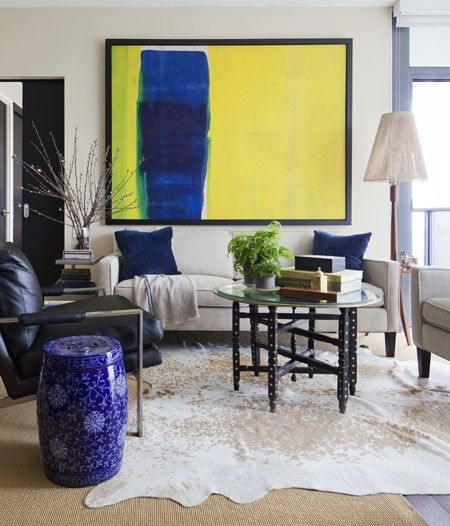 Large Scale Blue, Yellow Artwork. Small Living Room ...