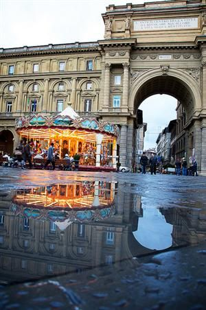 The Piazza della Repubblica in  is a city square in Florence, Italy. It is on the site, first of the city's forum built by the Romans and a neighborhood that was raized during the Risanamento. A brief period when Florence was the capital of a reunited Italy, work that also created the city's avenues and boulevards.