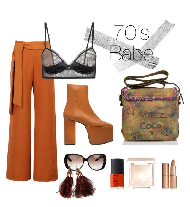 """70's babe"" by estebban-aguila on Polyvore featuring moda, WithChic, Balenciaga, Jouer, Charlotte Tilbury, NARS Cosmetics, Gucci, Louis Vuitton y Chanel"