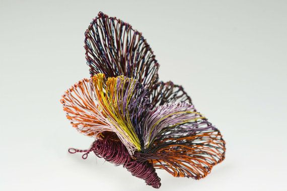 Art butterfly brooch Unusual wire butterflies Brooch jewelry Magenta jewelry Unique Mother gifts Sculptural jewelry butterfly brooch.  Ask a Question €130.00 EUR