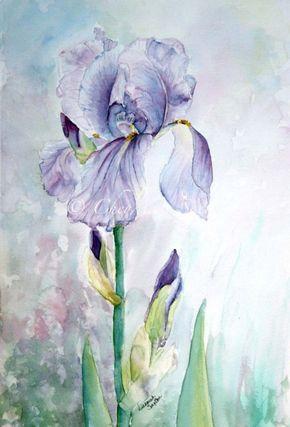 Viola Iris acquerello giclée Print Fine Art Home Decor 14x21