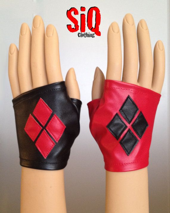 Harley Quinn Arkham City STRETCH Mitten Gloves RED by SiQclothing
