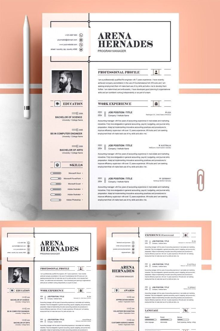 Professional Resume Instant Download Cv Word Cover Letter Etsy Resume Design Creative Resume Design Template Resume Design Professional