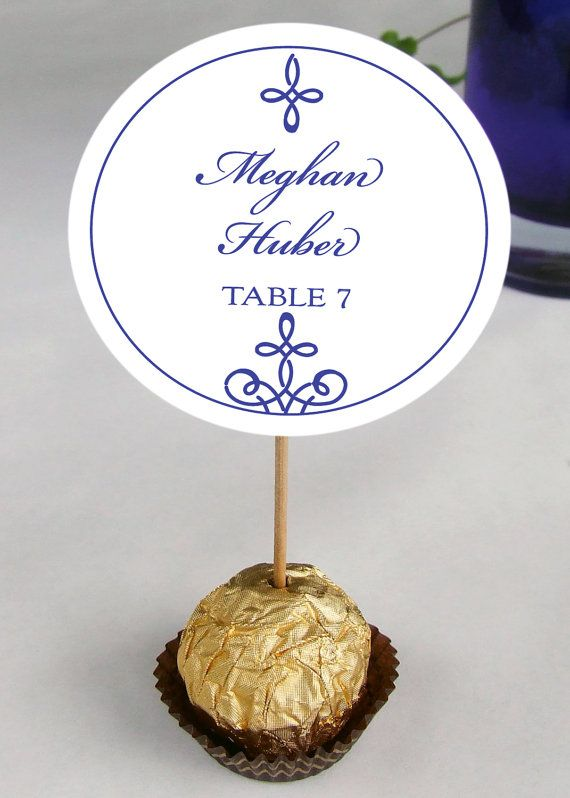 Unique Wedding Reception Ferrero Rocher Chocolate Truffles Escort, Place Cards, placecards, guests name party favors, cobalt, navy on Etsy, $1.43 AUD