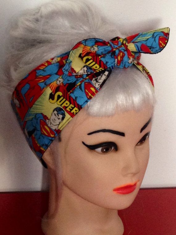 Superhero Headband  made from SUPERMAN Fabric by 3DROPSOFPOISON