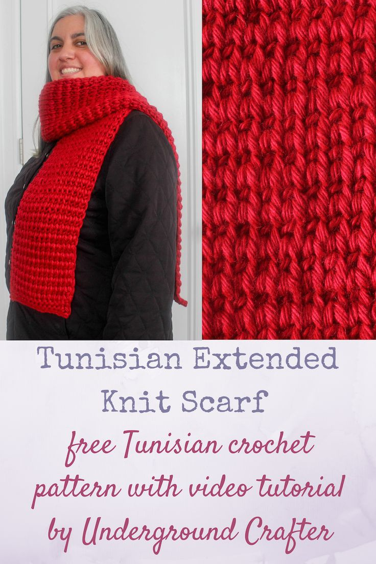 Free Tunisian crochet pattern: Tunisian Extended Knit Scarf with video tutorial by Underground Crafter | This stitch creates a warm and elegant pattern that resembles the stockinette stitch in knitting. The Tunisian Purl Stitch borders and the Extended Knit Stitch make this Tunisian crochet project unlikely to curl. This scarf is designed to meet the donation requirements of the Red Scarf Project, a program of Foster Care to Success which provides care packages to foster youth in colleges…