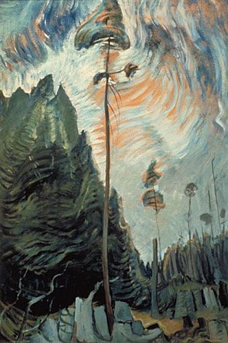 """Edge of the Forest,"" Emily Carr, ca.1935, oil on paper, 34.13 x 23"", McMichael Canadian Art Collection."