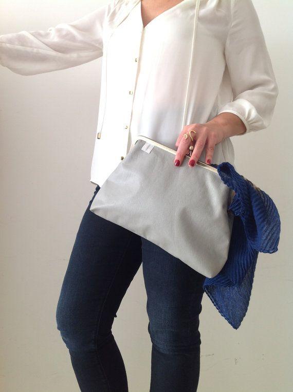 Grey Clutch Grey Handbag Grey bag Clutch Bag Clutch by TamakaBags