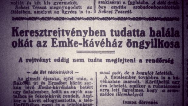 1926-ban egy budapesti pincér öngyilkos lett, és csak egy üres keresztrejtvényt hagyott maga után tette indoklásául. Ennek a történetnek néztem utána a hétvégén korabeli lapokban.