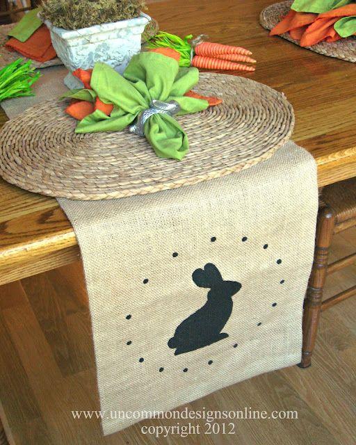 burlap bunny table runner: Gifts Ideas, Burlap Tables Runners, Easter Tables, Tables Runners Tutorials, Stencil Burlap, Burlap Runners, Free Printable, Napkins Ideas, Table Runners