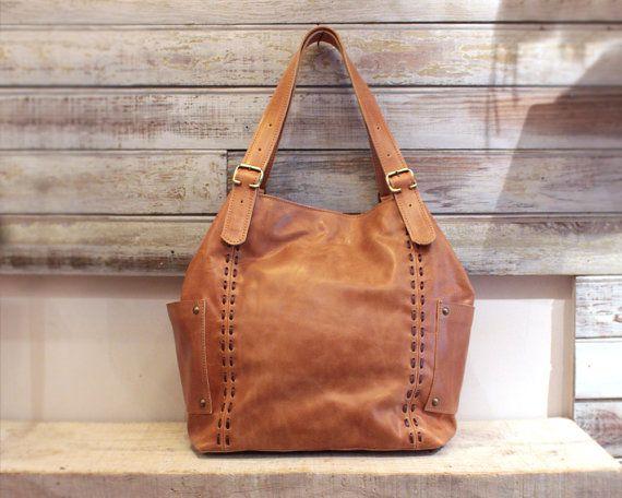 Tan leather bag camel hobo bag woman leather bag by Percibal