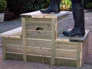 Equestrian Mounting block- love the two-sided steps. Perfect for the antsy greenie.