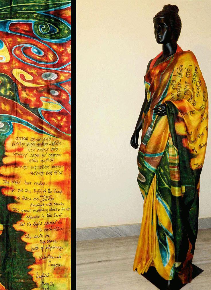 gala hand dyed silk goddess | Yellow & Green Bishnupur Sonamukhi Silk Hand Painted Saree