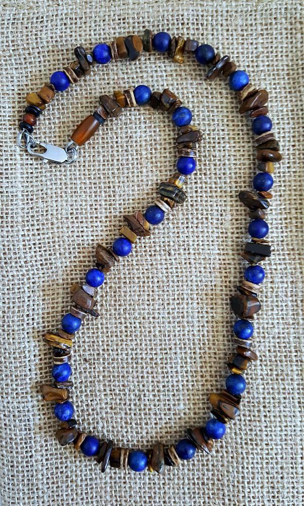 Gemstone Necklace Choker Necklace Men/'s Beaded Necklace Mens Beaded Jewelry Natural Stone Necklace Men/'s Blue Imperial Jasper Necklace