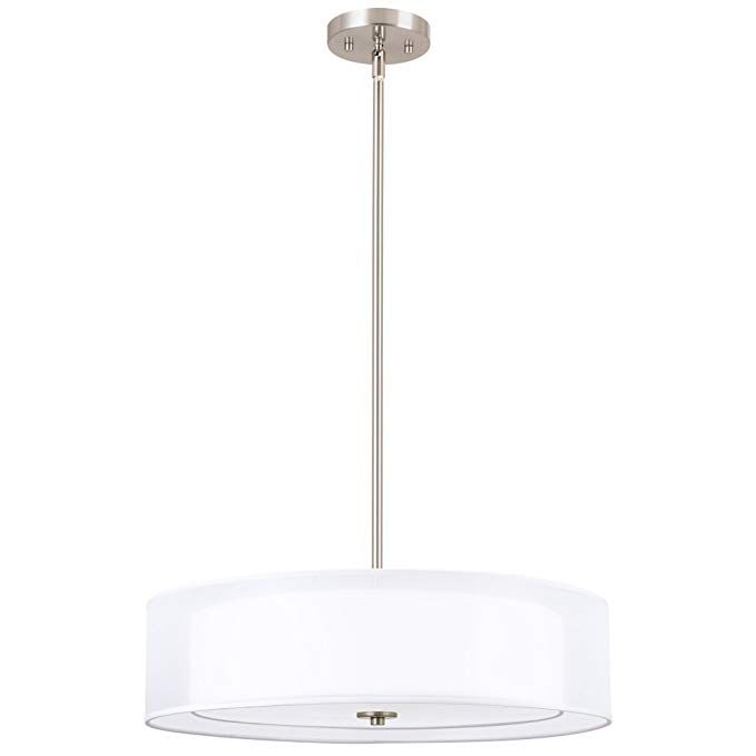 Kira Home Lindos 20 Modern 3 Light Double Drum Chandelier Glass Diffuser Stem Hung With Adjustable He Glass Diffuser Glass Chandelier Drum Shade Chandelier