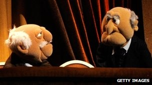 Everyone's favourite grumpy old men - The Muppets Statler and Waldorf  - on stage at the Secret Policeman's Ball in New York.