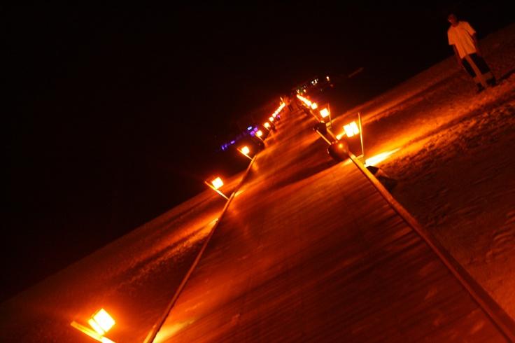 Fire bridge in the night