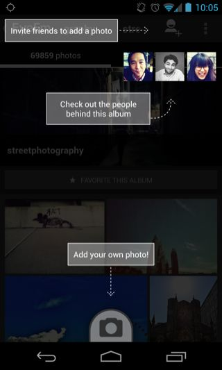 EyeEm Android coach marks screenshot