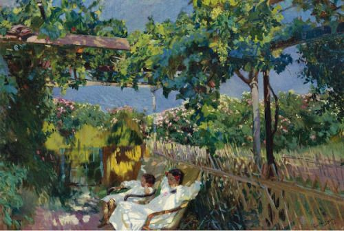 Joaquin Sorolla y Bastida (1863 – 1923, Spanish) Siesta In The Garden