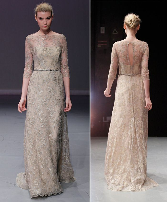 I absolutely love this one! Rivini Bridal Dress Fall 2012. Style SIMONETTA Sheath in grey, silver, and gold Chantilly lace with a boat neck overlay and 3⁄4 sleeves over fawn chiffon, has a square train and a black diamond and amber crystal belt. Chantilly Lace, Silk Organza Fawn, Ivory