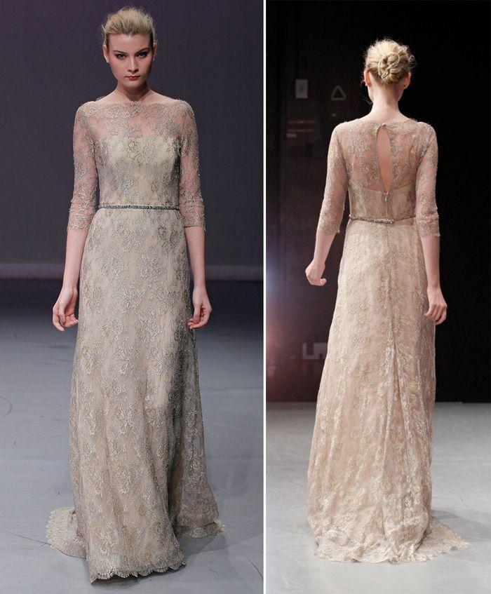 raised neckline, sheath, flowy wedding gown
