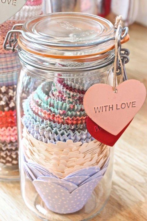 Store cupcake cases in glass spaghetti jars! Gotta love Cherry Menlove for this one!!