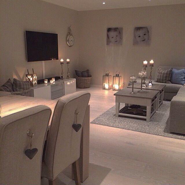 Salon salle à manger romantique