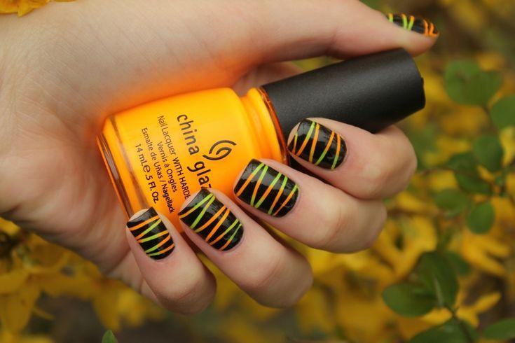 Nailart, Manicures Ideas, Fall Nails, China Glaze, Colors, Halloween Nails Art, Nails Polish, Neon Nails, Stripes