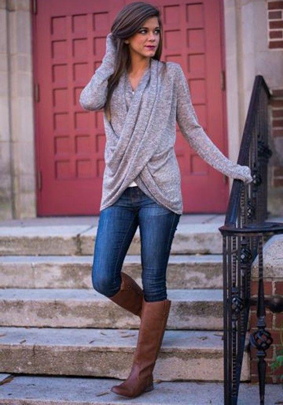 Grey Plain Irregular Cross Plunging Neckline Fashion Pullover Sweater