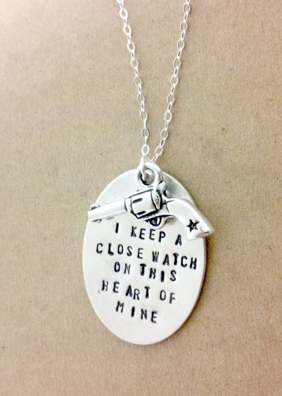 """Johnny Cash Necklace //  Gun, Sheriff, Western Sterling Silver Chain.  """" keep a close watch on this heart of mine."""" - Johnny Cash      urban southern charm via Etsy"""