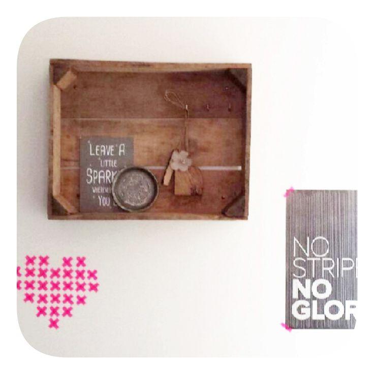 Oud kistje aan de muur: wandkastje , pronkplekje. www.als-nieuw.com