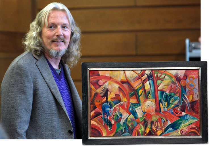 Wolfgang Beltracchi in court in Cologne last fall. Inset: Red Picture with Horses, a painting supposedly by German Expressionist Heinrich Campendonk, forged by Beltracchi; it sold at auction for $3.6 million in 2006., By FEDERICO GAMBARINI/EPA/LANDOV; by Simon Vogel/picture alliance /dpa (painting).