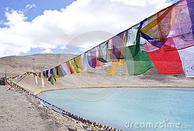 Sikh praying flags besides the Gurudongmar Lake