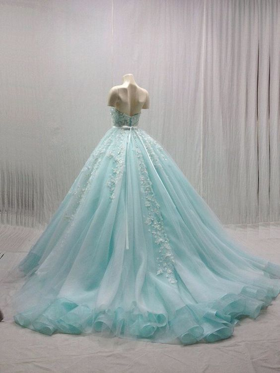 Blue Ball Gown,Appique Prom Dress,Backless Prom Dress,Fashion Prom