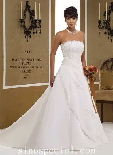 Adorable White A-line Strapless Neckline Embroidery Wedding Dress