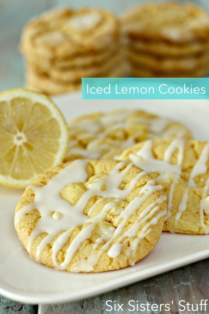 Iced Lemon Cookies Recipe on SixSistersStuff.com- these are made with a cake mix!!