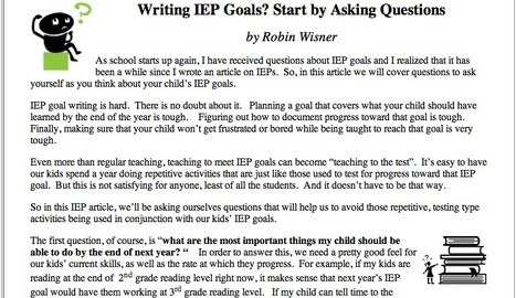 AAC Institute - Writing IEP Goals? Start by Asking Questions by Robin Wisner - September 2011 Parents' Corner | Writing IEP Goals for AAC Us...