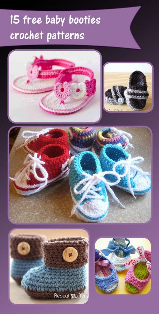15 free baby booties crochet patterns