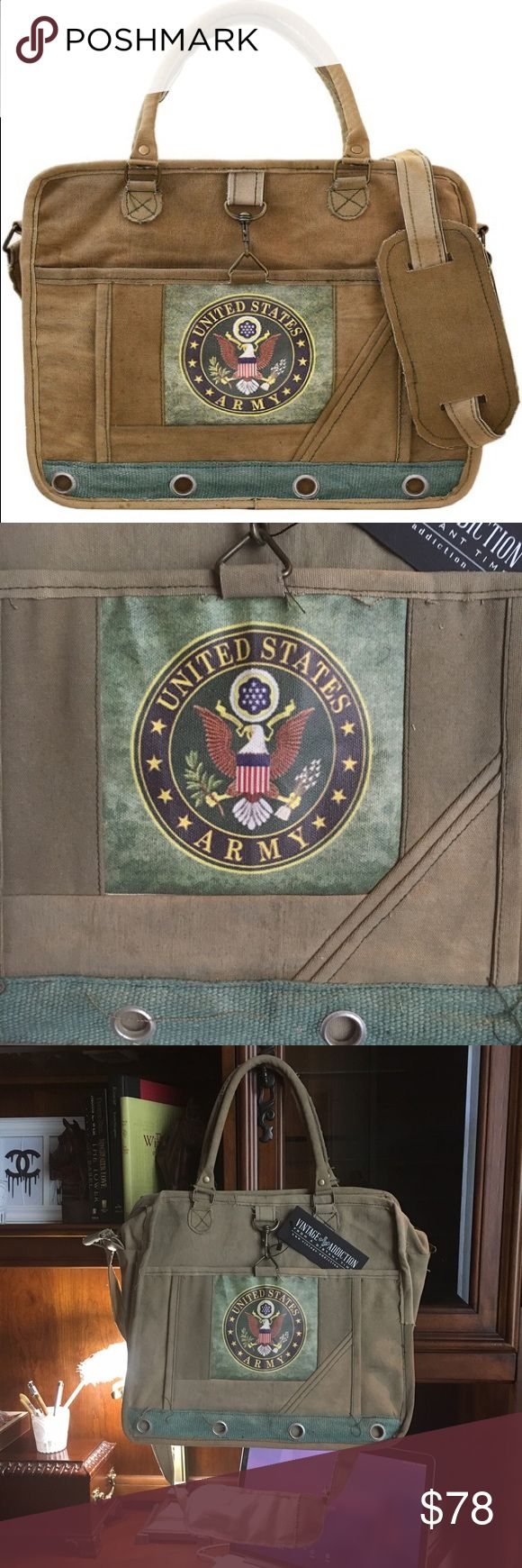 "US Army Laptop Messenger Bag Store your laptop in rustic style with this recycled cotton bag featuring a cushioned insert and ample space for accessories. Note: Due to the manufacturing process and design, each bag is unique. Made with scuff marks individual to each bag to look well loved. Great gift for that soldier in your life or show support for our US Armed Forces. US Army. 16"" W x 14"" H x 5"" D double handles, crossbody strap has 41"" maximum strap length. -Cotton -Zip closure -Exterior…"