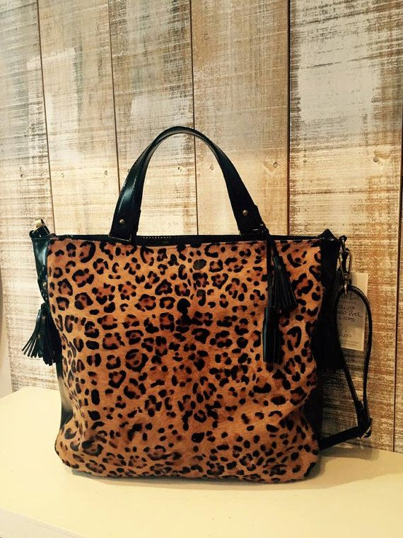 Top Handle Leopard Bag Printed Leather Purse Animal Print